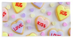 Bath Towel featuring the photograph Conversation Heart Cookie Love by Teri Virbickis