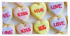 Hand Towel featuring the photograph Conversation Heart Decorated Cookies by Teri Virbickis