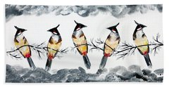 Conversations With Friends Hand Towel by Cathy Jacobs