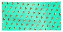 Cool And Trendy Pizza Pattern In Super Acid Green   Turquoise   Blue Bath Towel