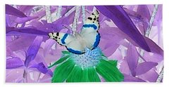 Bath Towel featuring the photograph Cool Butterfly In Lavender Leaves by Karen J Shine