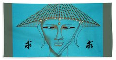 Coolie Buddha -- Stylized Buddha In Hat Hand Towel