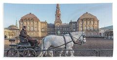 Hand Towel featuring the photograph Copenhagen Christianborg Palace Horse And Cart by Antony McAulay