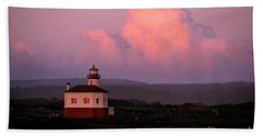 Coquille River Lighthouse Sunset Hand Towel