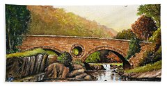 Coracle Fishing Cenarth Bath Towel