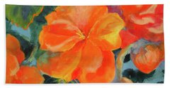 Hand Towel featuring the painting Coral Begonias by Kathy Braud