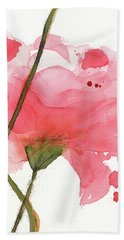 Hand Towel featuring the painting Coral Poppies by Dawn Derman