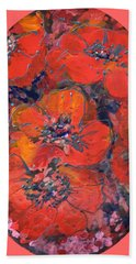 Coral Poppies Hand Towel