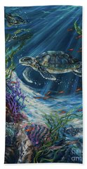 Coral Reef Turtle Hand Towel