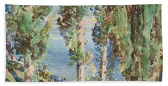 Corfu Cypresses Bath Towel
