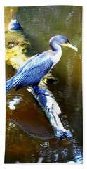 Hand Towel featuring the photograph  Cormorant 000 by Chris Mercer