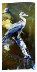 Hand Towel featuring the photograph   Cormorant 001 by Chris Mercer