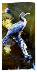Hand Towel featuring the photograph   Cormorant 002 by Chris Mercer