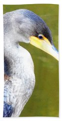 Hand Towel featuring the photograph    Cormorant 003 by Chris Mercer