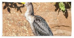 Hand Towel featuring the photograph Cormorant On Shore by Paul Freidlund