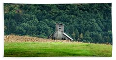 Bath Towel featuring the photograph Corn Field Silo by Marvin Spates