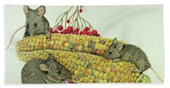 Bath Towel featuring the drawing Corn Meal by Terri Mills