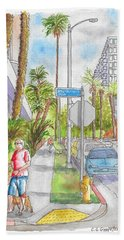 Corner Of Hawthorn And Formosa In Hollywood, California Hand Towel