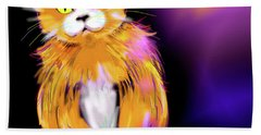 Bath Towel featuring the painting Cornmuffin Dizzycat by DC Langer
