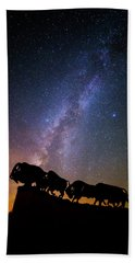 Hand Towel featuring the photograph Cosmic Caprock Bison by Stephen Stookey