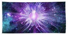 Bath Towel featuring the mixed media Cosmic Heart Of The Universe Mosaic by Shawn Dall