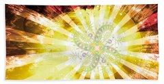 Hand Towel featuring the digital art Cosmic Solar Flower Fern Flare 2 by Shawn Dall