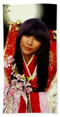 Cosplayer In Japanese Costume Hand Towel