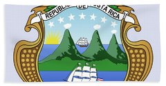 Costa Rica Coat Of Arms Bath Towel by Movie Poster Prints