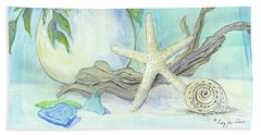 Cottage At The Shore 1 White Hydrangea Bouquet W Driftwood Starfish Sea Glass And Seashell Bath Towel