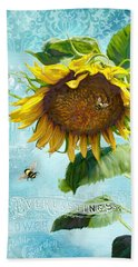 Cottage Garden Sunflower - Everlastings Seeds N Flowers Bath Towel by Audrey Jeanne Roberts