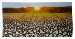 Cotton Field Sunset Hand Towel by Jeanette Jarmon