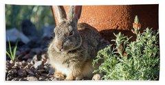 Cottontail Rabbit In The Garden Bath Towel