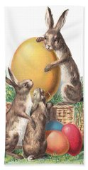 Bath Towel featuring the digital art Cottontails And Eggs by Reinvintaged