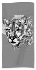 Bath Towel featuring the mixed media Cougar Head Black And White by Marian Voicu