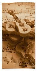 Country And Western Guitars. Music Education Bath Towel