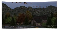Bath Towel featuring the digital art Country Church Autumn At Twilight by Methune Hively