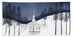 Country Church In Moonlight 2, Silent Night Hand Towel