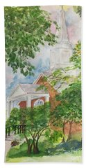 Country Church Hand Towel by Lucia Grilletto