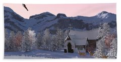Hand Towel featuring the digital art Country Church by Methune Hively