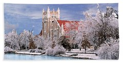 Hand Towel featuring the photograph Country Club Christian Church by Steve Karol