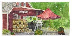 Country Farmer's Market Hand Towel by Lucia Grilletto