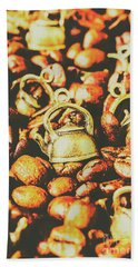 Country Pots And Coffee Beans Hand Towel