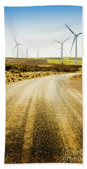 Country Roads And Scenic Windfarms Hand Towel