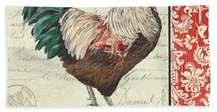 Bath Towel featuring the painting Country Rooster 1 by Debbie DeWitt