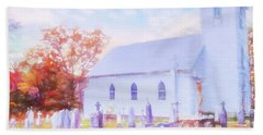 Country White Church And Old Cemetery. Bath Towel