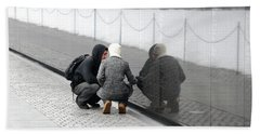 Couple At Vietnam Wall Hand Towel