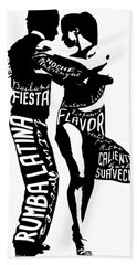 Couple Dancing Latin Music Hand Towel
