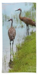Couple Of Sandhills By Pond Bath Towel