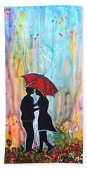 Couple On A Rainy Date Romantic Painting For Valentine Bath Towel