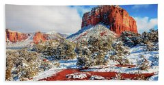 Courthouse Butte Under Snow Hand Towel